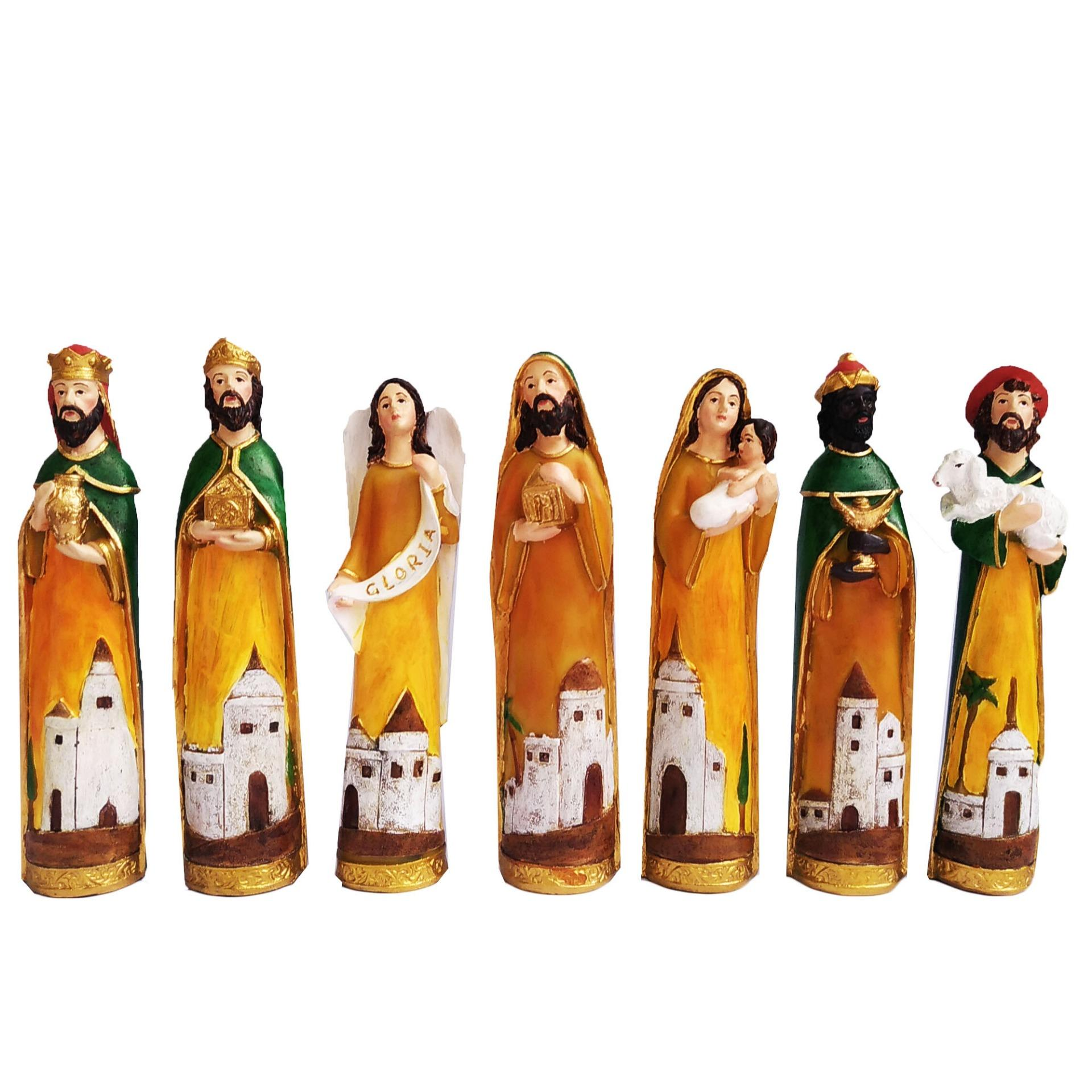 Set of 7 Mexican Style Nativity Scene figurine for Christmas with (Jesus,Saint St. Joseph, Blessed Virgin Mary, 3 Kings) Religious Item - thumbnail