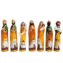 Set of 7 Mexican Style Nativity Scene figurine for Christmas with (Jesus,Saint St. Joseph, Blessed Virgin Mary, 3 Kings) Religious Item by Everything About Santa