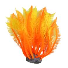 Silicone Fish Tank Manmade Water Plant Artificia Ornament Orange - intl