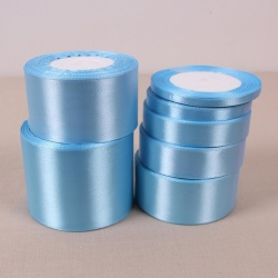 Sky Blue 25 Yards Silk Satin Ribbon Wedding Party Decoration Gift Wrapping Christmas Year Apparel Sewing Fabric DIY 10mm - intl