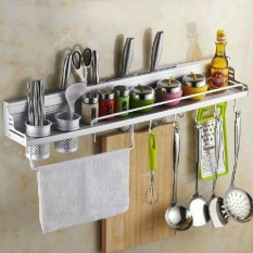 Space Aluminum Alloy Kitchen Wall-Mounted Multi-Function 60 Cm Storage Rack (with Fence) (international) - Intl By Qimiao Store