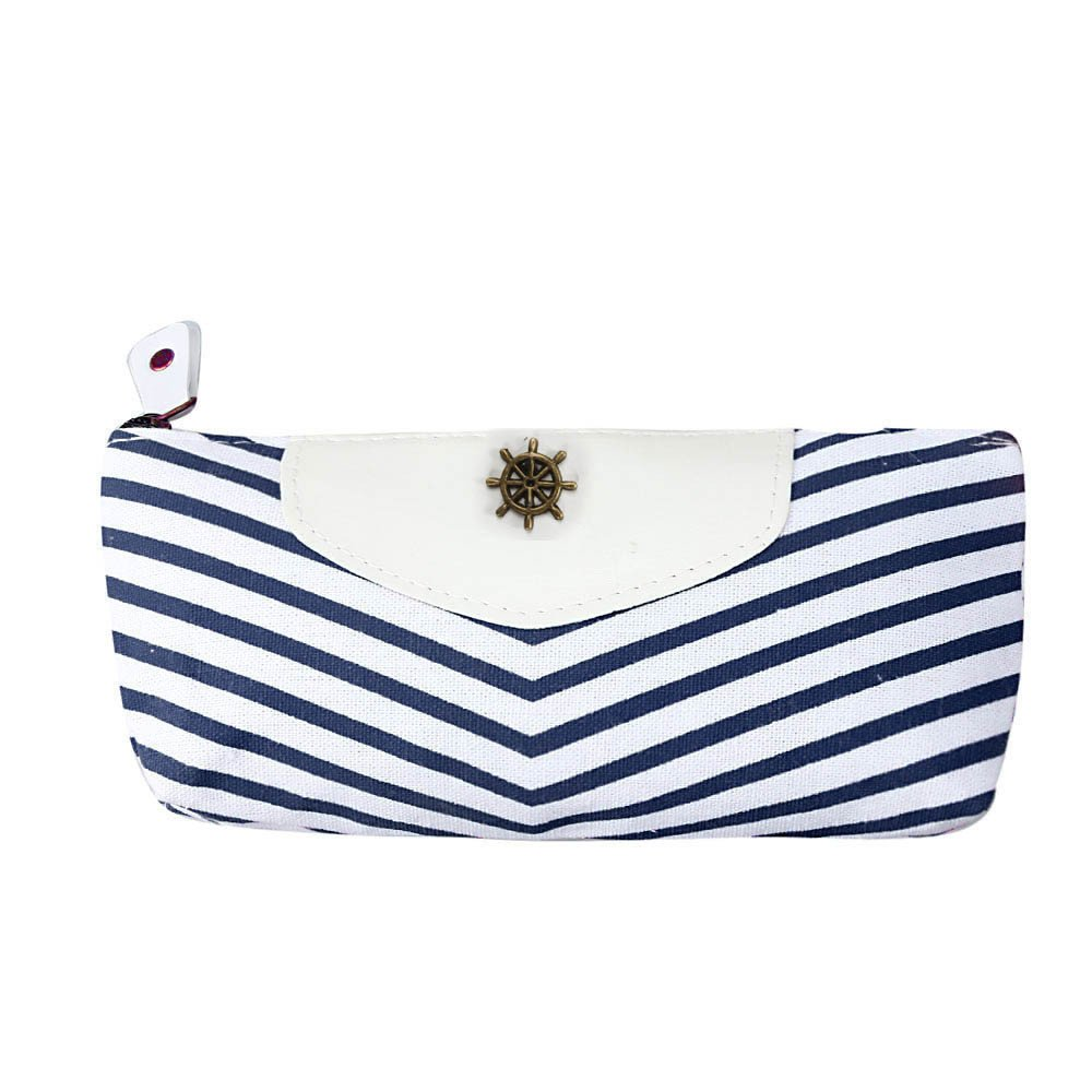 Student Navy Canvas Pen Pencil Case Coin Purse Pouch Bag (White/Blue) product preview, discount at cheapest price