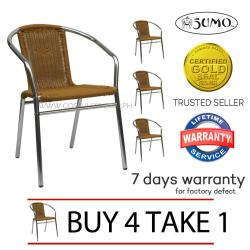 Sumo AWC-101BEI Deluxe Aluminum Wicker Chair  (Brown) Buy 4 Take 1