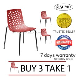 Sumo SC-16RED Designer Plastic Stacking Chair (Red) Buy 3 Take 1