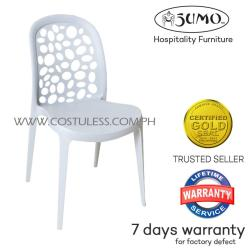 Sumo SC-23WHT Designer Plastic Stacking Chair Furniture (White)