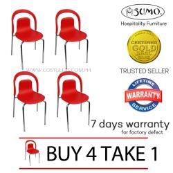 Sumo SC-24RED Designer Plastic Chair Furniture (Red) BUY 4 TAKE 1