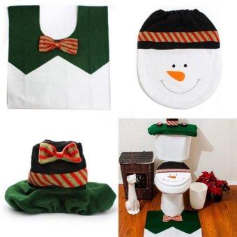TA Home Christmas Santa Claus Toilet Foot Pad Seat Cover Radiator Cap Bathroom Set TE - intl