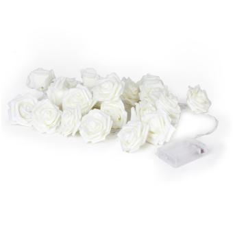 Twenty-LED 86.6inch Battery Operated Christmas Wedding Rose Flower Shape String Lamp Fairy Lights - White