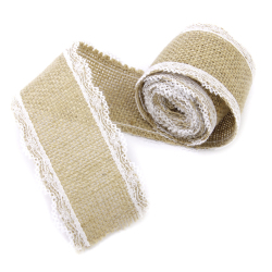 Two M Hessian Burlap Lace Craft Ribbon For Craft Vintage Wedding