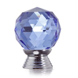 UJS 30mm Round Crystal Glass Cabinet Drawer Wardrobe Door Pull Handle Knobs Blue (Intl)