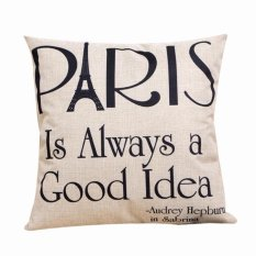UJS Home Cotton Linen Leaning Cushion Throw Pillow Covers Pillowslip Case (White) (Intl