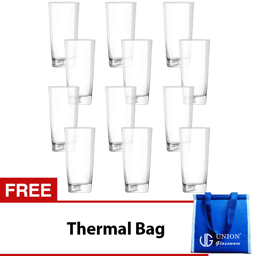 Union Glass Tumbler 11oz Set of 12 (Clear) with FREE Thermal Bag - thumbnail