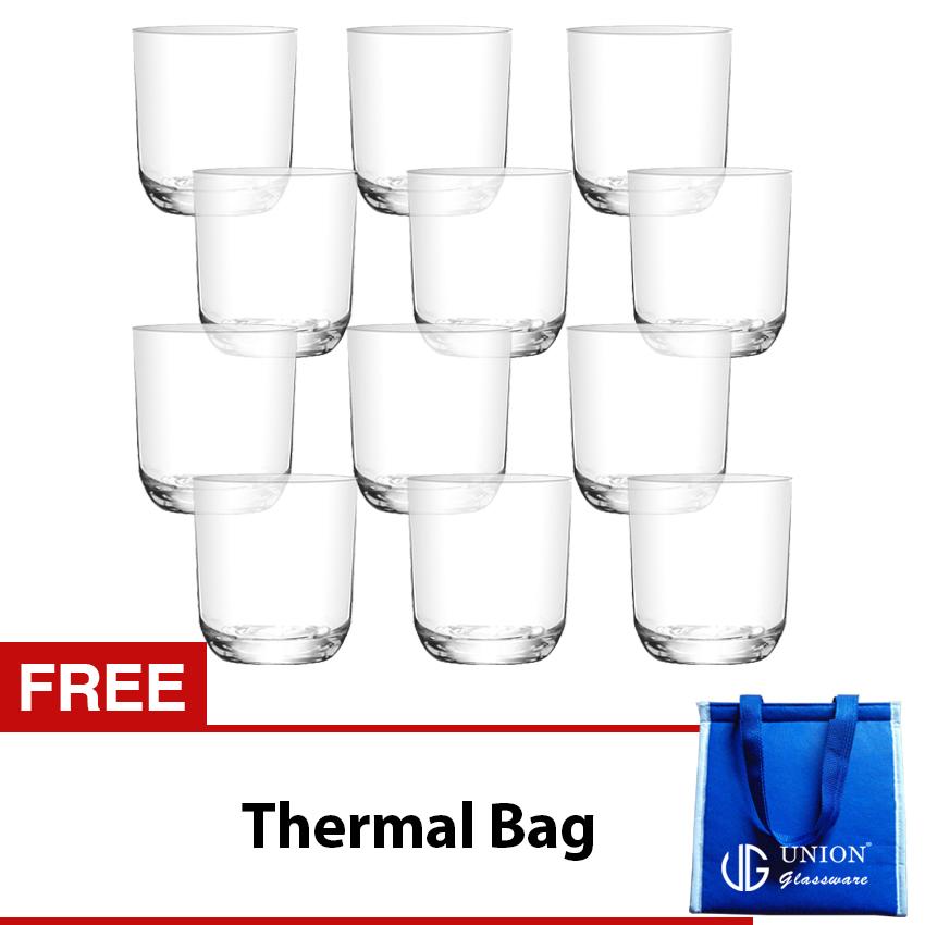 Union Glass Tumbler 8oz Set of 12 (White) with FREE Thermal Bag - thumbnail
