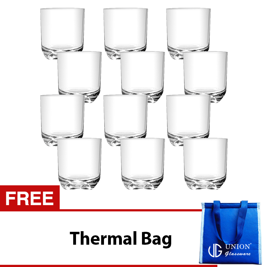 Union Glass Tumbler 8oz Set of 12 (White) with Free Thermal Bag product preview, discount at cheapest price