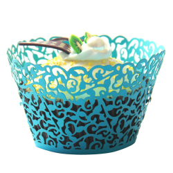 Velishy Lace Cupcake Wrapper Set of 50 (Blue)