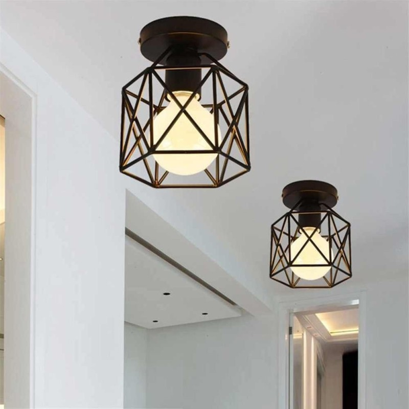 Vintage LED Square Metal Cage Ceiling Light Square Pendant Lamp Lighting - intl