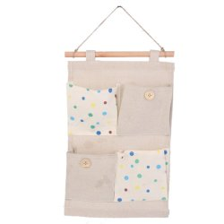 Wall Door Hanging 4 Pockets Storage Bag Organizer Holder - Colorful dots