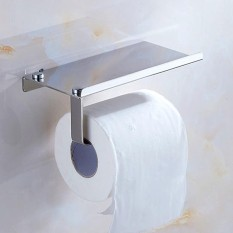Wall Mounted 2 In 1 Stainless Steel Toilet Roll Paper Holder Rack Tissue Stand