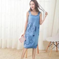 Wearable Fast Drying Towel Bathrobe Bath Dress (Blue) 966383e32