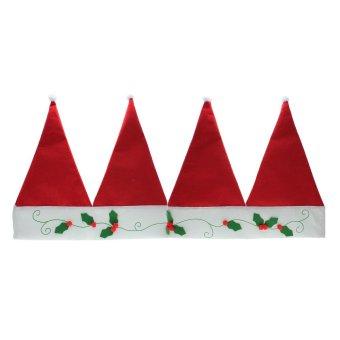 Whyus Christmas Santa Hat Home Festival Party Window Valance Curtain Pennant Decor - INTL