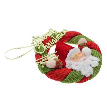 Whyus Santa Claus Snowman Christmas Wreath Hanging Ornament Decoration Pendant Gift Santa Claus - INTL