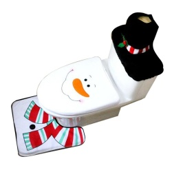 Womdee Christmas Decorations Toilet Seat Cover And Bathroom Rugs Set- Snowman - intl