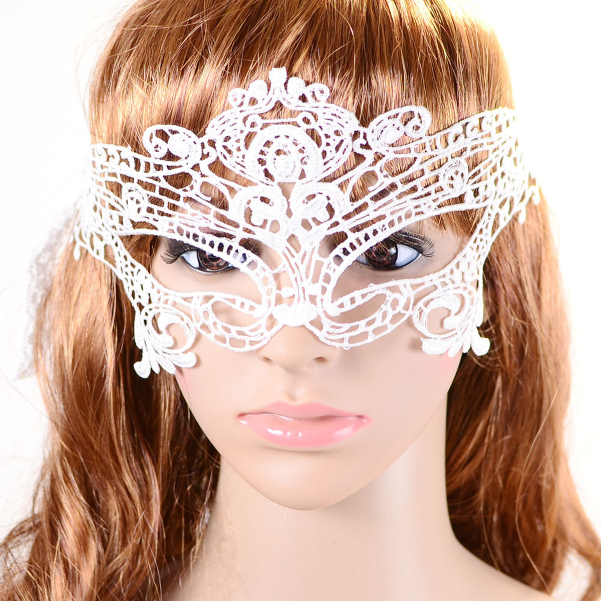 Women's Cosplay Sexy Eye Veil Lace Eye Mask for Halloween /Christmas /Masquerade /Costume Party (White)