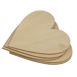 Wooden Blank Heart Embellishments for DIY Crafts 150 x 3mm 5pcs