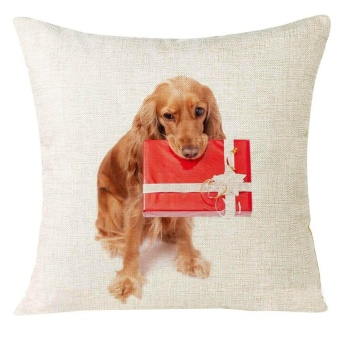 Xmas Christmas Animal Sofa Home Decoration Festival Pillow Case Cushion Cover - intl