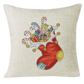 Xmas Christmas Socks Sofa Home Decoration Festival Pillow Case Cushion Cover - intl