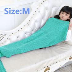 YBC Knitted Mermaid Tail Blanket Handmade Crochet Soft Blankets Green