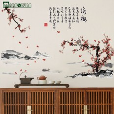 Yongmei Ink Painting Living Room Bedroom Study Background Chinese Style Decorative  Wall Stickers Home Decoration Accessories