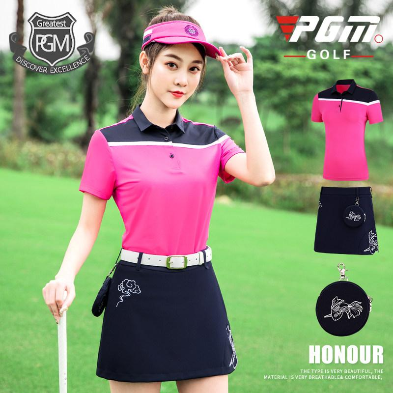 0989081515 PGM New Golf Clothing Women Summer Sports Casual Womens Short Sleeve + Golf  Skirt Goldfish Embroidered
