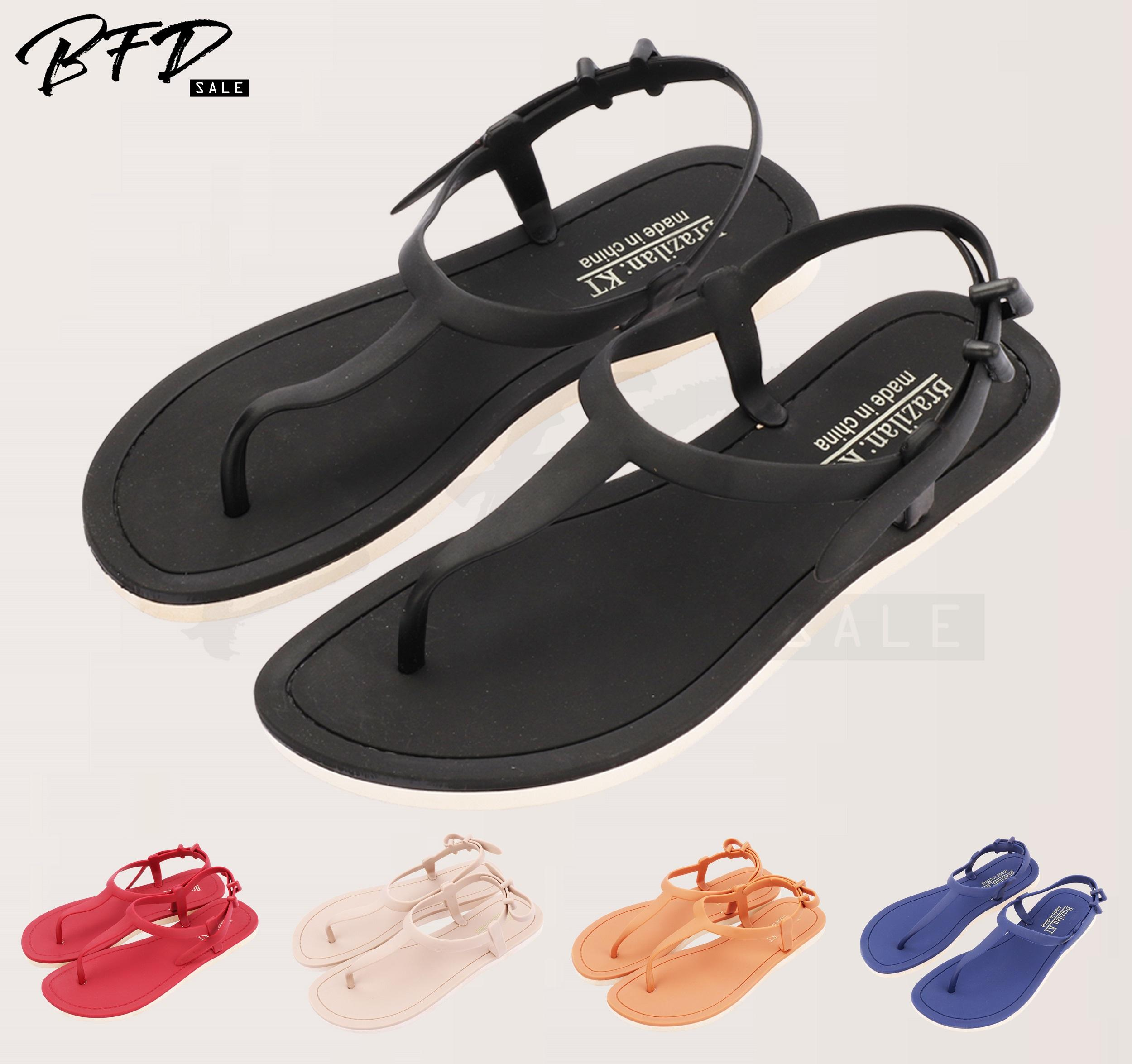 e49ed9db8 Big Sale Korean Style Ladies Flat Sandals Elastic Band Closure T-Strap  Sandals 8839