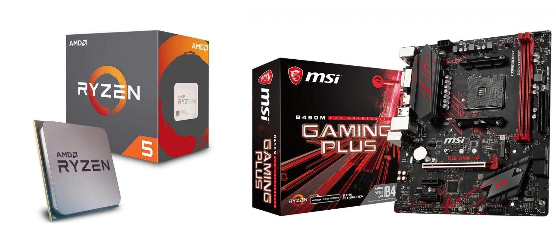 AMD Ryzen 5 2600 Processor with Wraith Stealth Cooler plus MSI B450m Gaming  Plus Motherboard Bundle