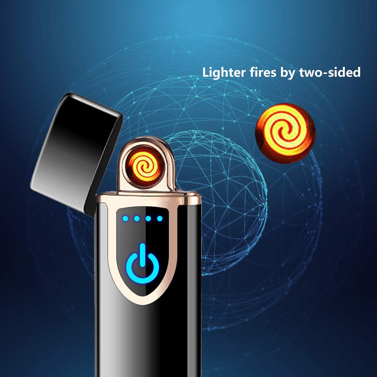 Touch Sensor USB Rechargeable Windproof Dual Pulse Arc Flameless Electric  Cigarette Lighter