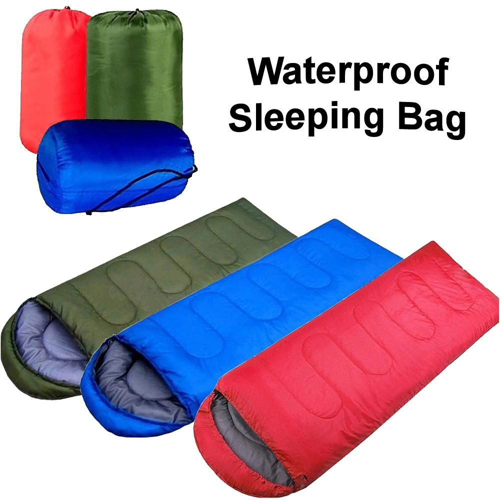 Outdoor Camping Envelope With Hooded Sleeping Bag blue