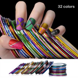 YiaoJun 32 pcs Nail Art Benang Emas dan Perak Set Nail Coil Benang Emas dan Perak (satu set 32 warna (32 gulungan)) thumbnail