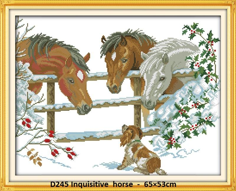Inquisitive Horse Stamped/printed Cross Stitch Complete Set By Stamped To Stitch.