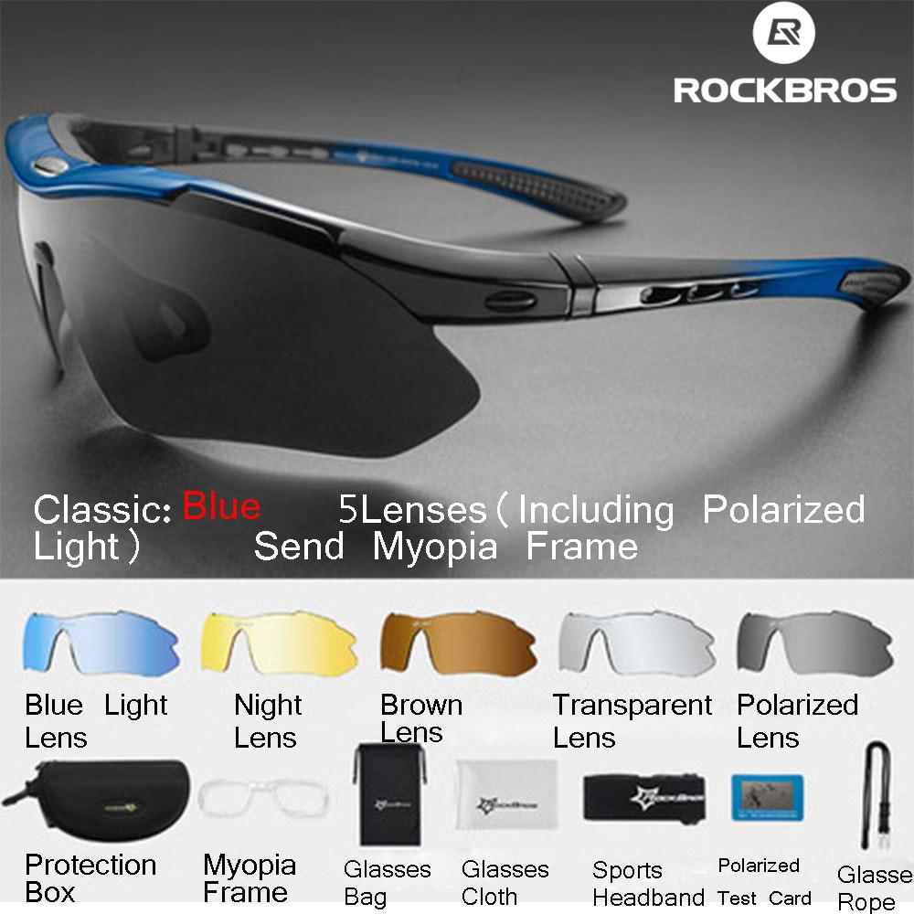 RockBros Polarized Cycling Bike Sun Glasses Outdoor Sports Bicycle Bike Sunglasses TR90 Goggles Eyewear 5 Lens