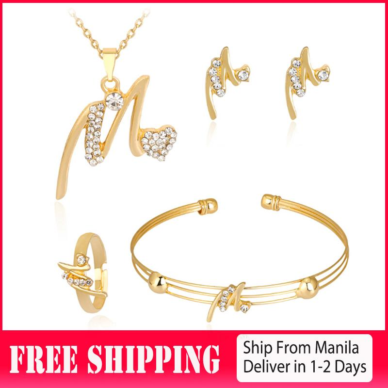 26ff7f030d Korean Women's Exquisite Letter Diamond Necklace Stud Earring Bracelet Ring  Jewelry Set Four-piece Set