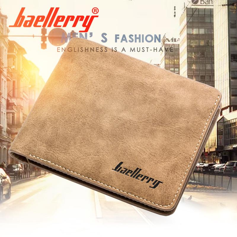 Baellerry Official Original Nubuck Leather Men Short Credit Card Holder Retro Style Wallet By Baellerry.