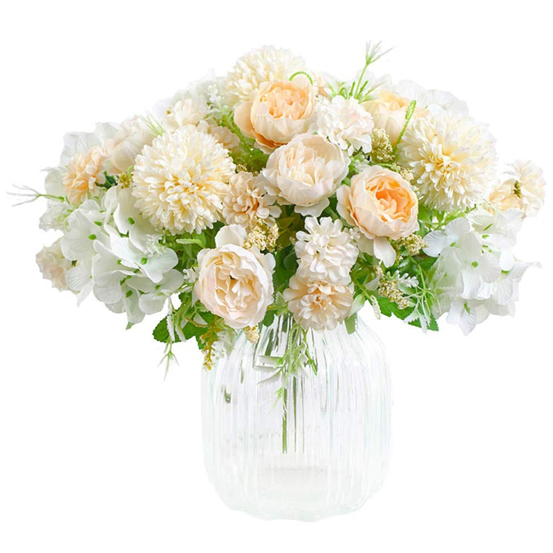Artificial Flowers Fake Peony Silk Hydrangea Bouquet Decor Plastic Carnations Realistic Flower Arrangements Wedding Decoration Table Centerpieces 2 Packs Champagne And White Lazada Singapore