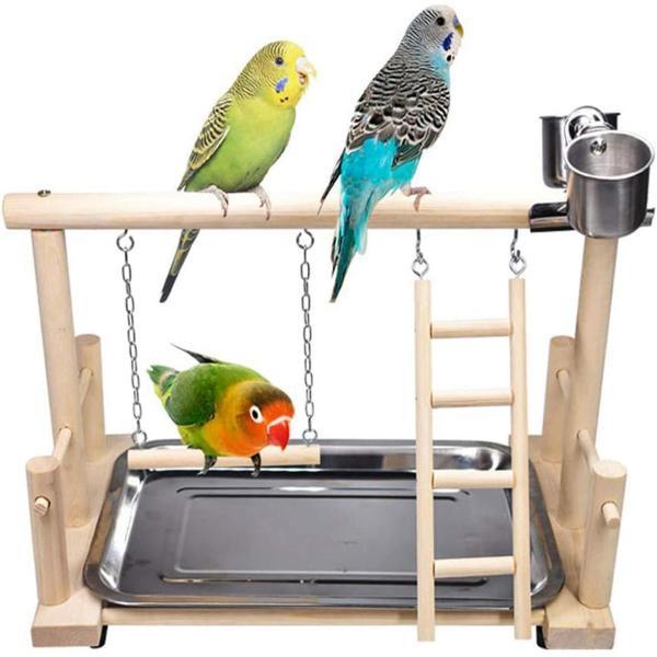 MUJIAOL Conure Lovebirds Đồ Chơi Thoải Mái Tập Luyện Cho Thú Cưng Sân Chơi Có Cốc Cho Ăn Giá Gỗ Xoay, Thang Leo Núi Chân Đứng Chơi Cho Vẹt Cá Rô