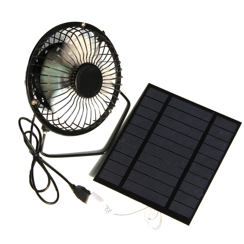 Bảng giá 2.5W 5V Solar Powered Panel Iron Fan For Home Office Outdoor Traveling Fishing 4 Inch Cooling Ventilation Fan Usb New Phong Vũ