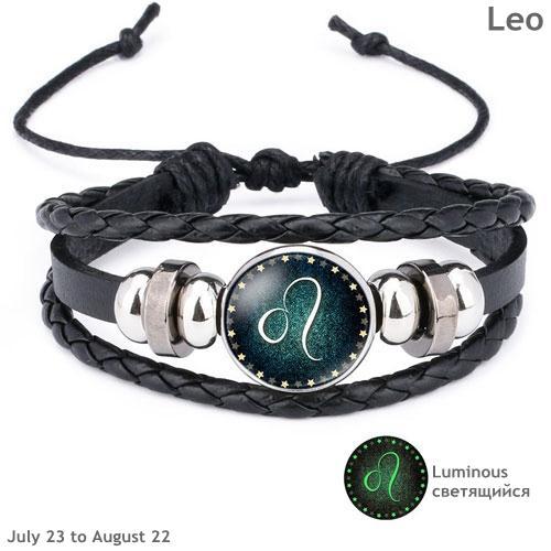 f88dad0dcdd8a1 Great-King New 12 Constellation Luminous Bracelet Men Leather Bracelet  Charm Bracelets for Men Boys