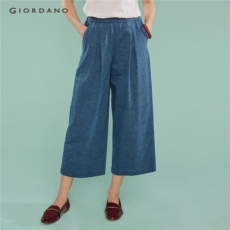 5c7ce0802a Giordano Women Pants Linen Cotton Wide Leg Pants For Women Ankle Length Mid  Rise Casual Women's