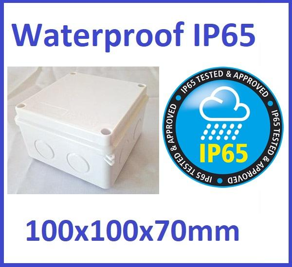 100x100x70mm IP65 Waterproof Outdoor Electrical CCTV Enclosure Square Junction Box White ABS