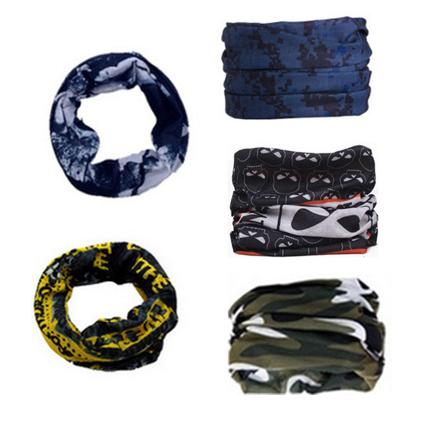 5pcs Multifunctional Headband Sport Magic-Style Headwear Outdoor Bandana Scarf Colorful Series Set A -