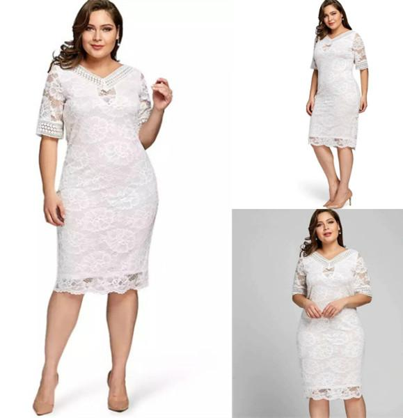 483e5e15f2 Lucky studio Fashion new arrival elegant plus size dress for women hot on  sale v neck half sleeve lace bodycon dress Free size can fit to xL